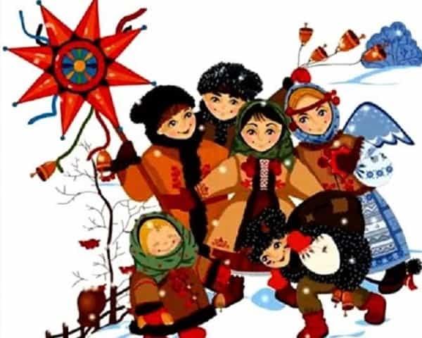 дети колядуют на Рождество