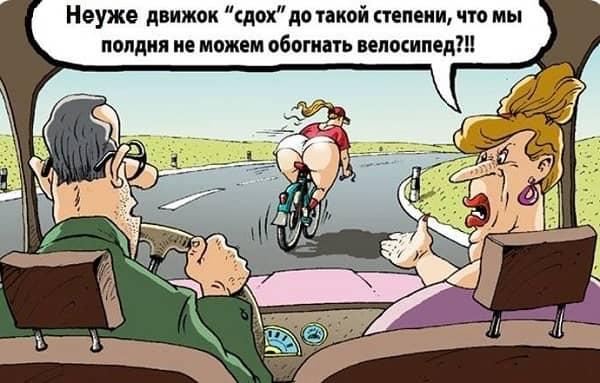 анекдот про супругов и велосипедистку