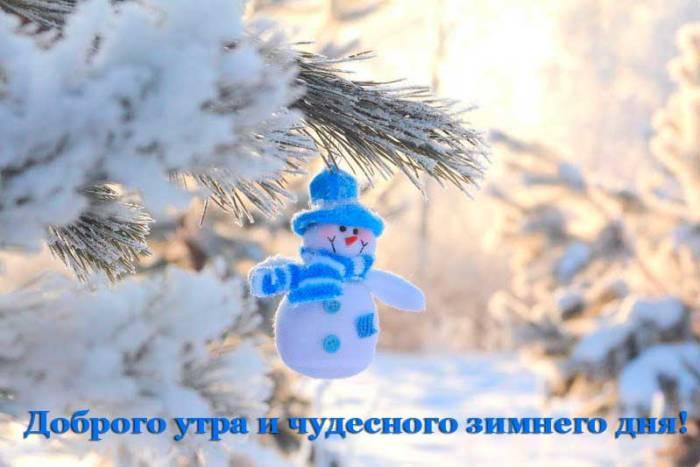 лапа ели и снеговик