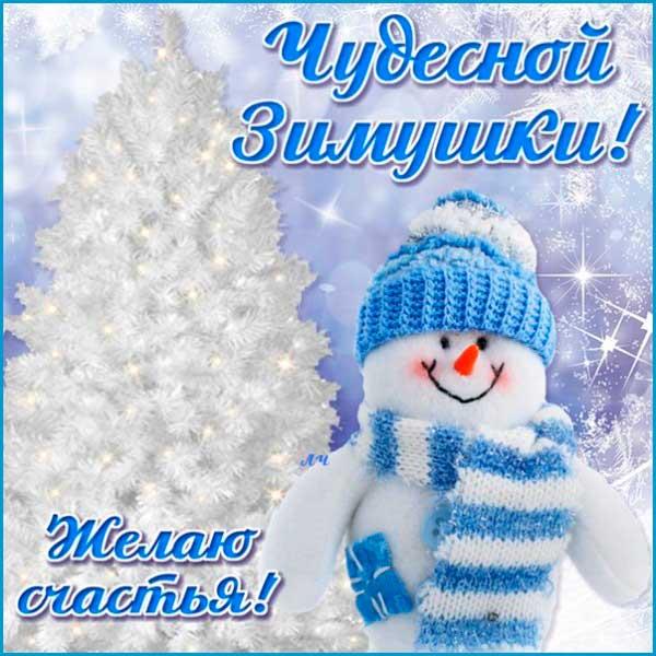 прикольный снеговик поздравляет с наступлением зимы