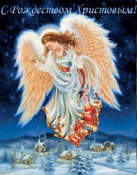 ангел в небе на Рождество